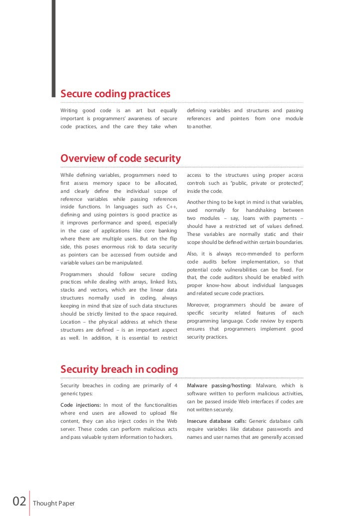 Finacle - Secure Coding Practices