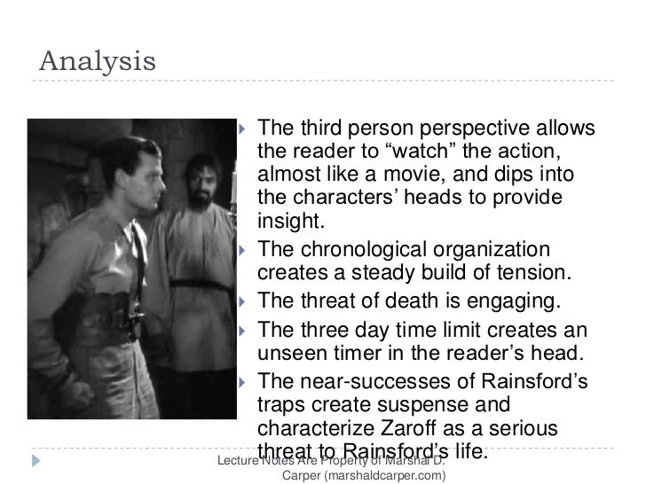 """character analysis of rainsford from the tyler jump ms keen english/1 writing 10/22/14 character analysis of """"rainsford"""" rainsford from """"the most dangerous game"""" written by richard connell is a story about a big- game hunter named rainsford."""