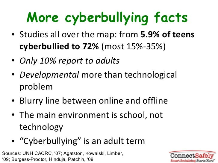 More cyberbullying facts <ul><li>Studies all over the map: from  5.9% of teens cyberbullied to 72%  (most 15%-35%) </li></...