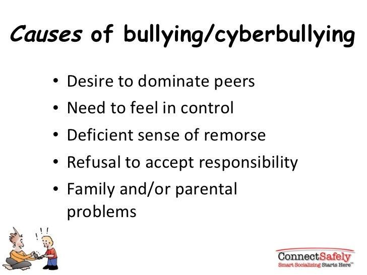 Causes  of bullying/cyberbullying <ul><li>Desire to dominate peers  </li></ul><ul><li>Need to feel in control </li></ul><u...