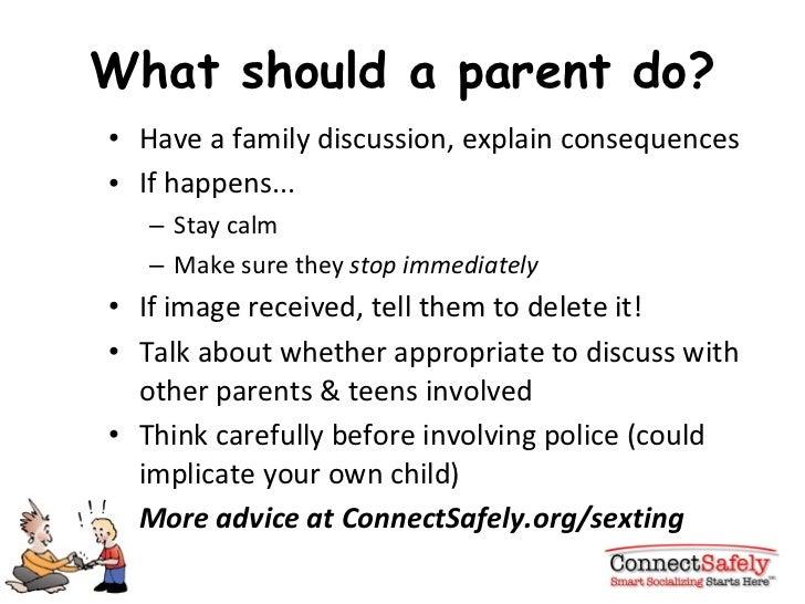 What should a parent do? <ul><li>Have a family discussion, explain consequences </li></ul><ul><li>If happens... </li></ul>...