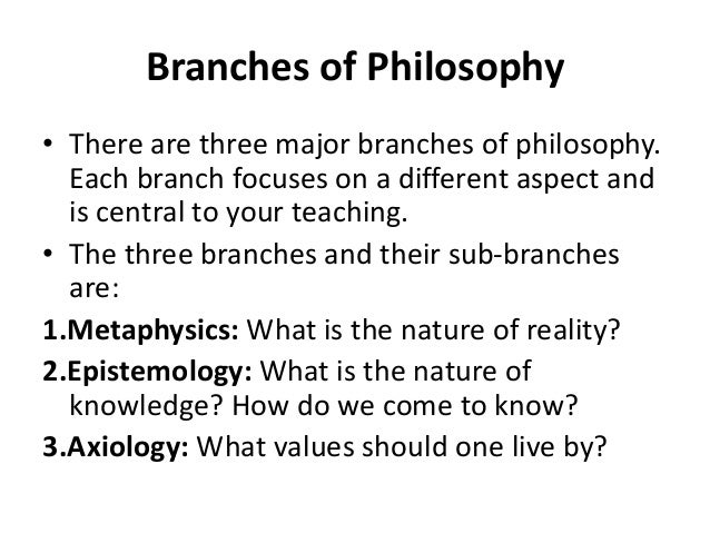 Metaphysics is the branch of philosophy