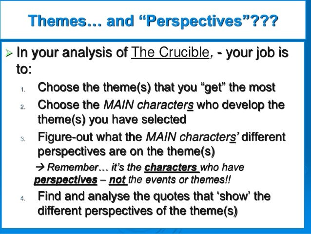 theme of power in the crucible You're really dreading seeing the themes, the crucible - explore ideas order  essay 2  forget about power and provide critical analysis essay on 1692.