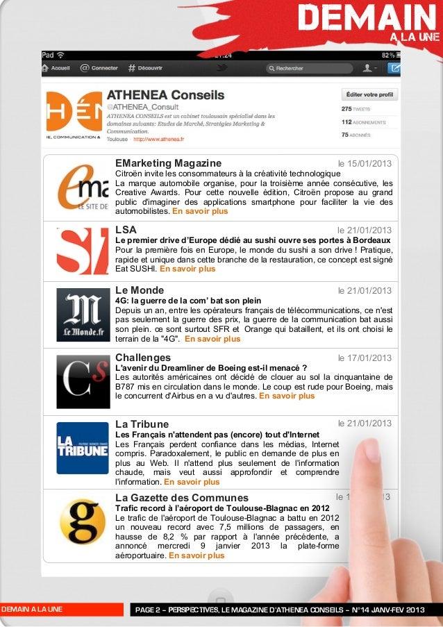 Perspectives n°14   janv-févr 2013 - athénéa conseils Slide 3