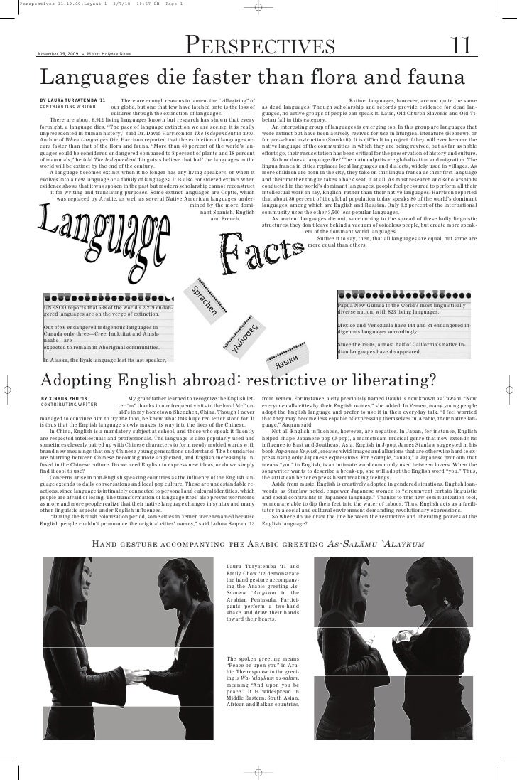 Perspectives 11.19.09:Layout 1          2/7/10     10:57 PM   Page 1           Languages die faster than flora and fauna  ...