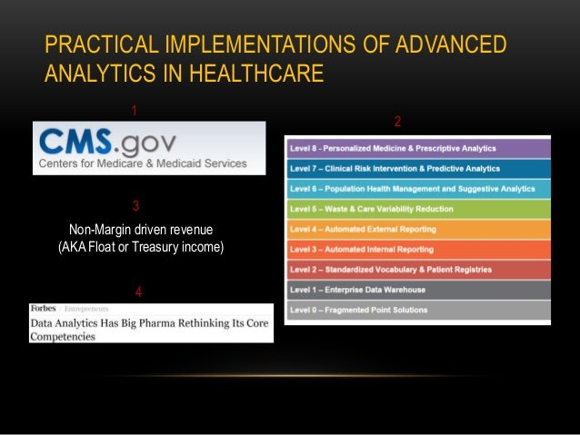 PRACTICAL IMPLEMENTATIONS OF ADVANCED ANALYTICS IN HEALTHCARE Non-Margin driven revenue (AKA Float or Treasury income) 1 2...