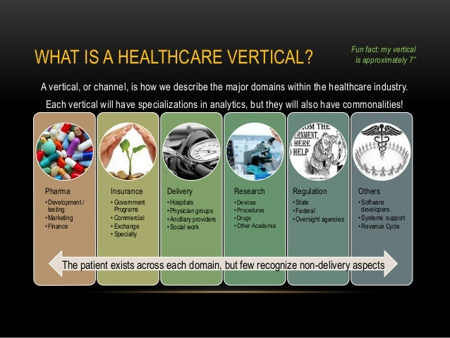 WHAT IS A HEALTHCARE VERTICAL? A vertical, or channel, is how we describe the major domains within the healthcare industry...
