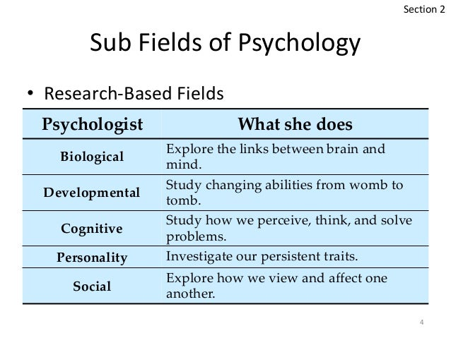 The different fields of study in psychology