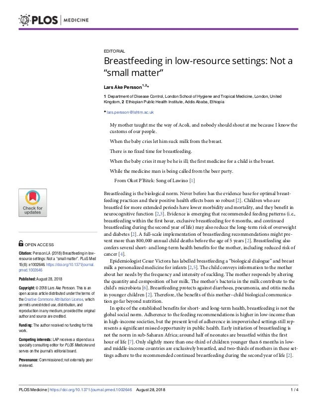 "EDITORIAL Breastfeeding in low-resource settings: Not a ""small matter"" Lars Åke Persson1,2 * 1 Department of Disease Contr..."