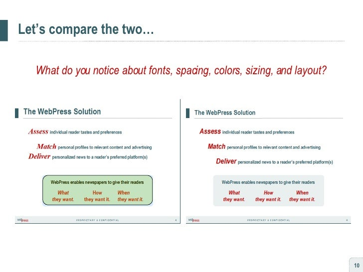 Let's compare the two… What do you notice about fonts, spacing, colors, sizing, and layout?