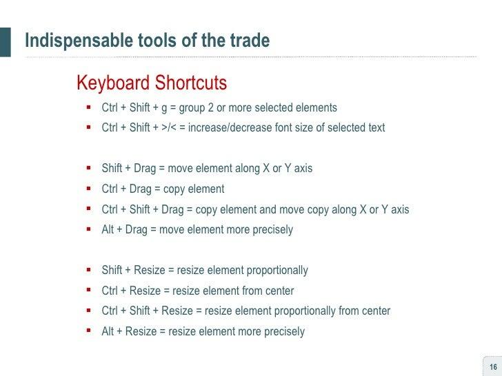 Indispensable tools of the trade <ul><li>Keyboard Shortcuts </li></ul><ul><ul><li>Ctrl + Shift + g = group 2 or more selec...