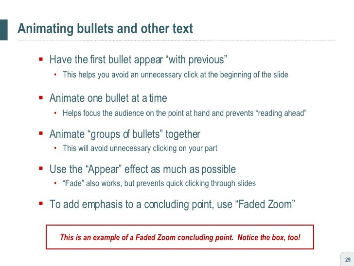 """Animating bullets and other text <ul><ul><li>Have the first bullet appear """"with previous"""" </li></ul></ul><ul><ul><ul><li>T..."""