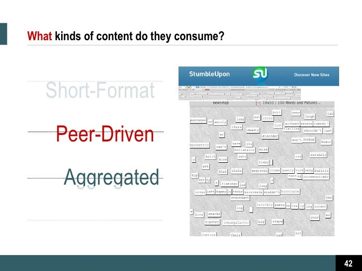 What   kinds of content do they consume? Short-Format  Peer-Driven  Aggregated