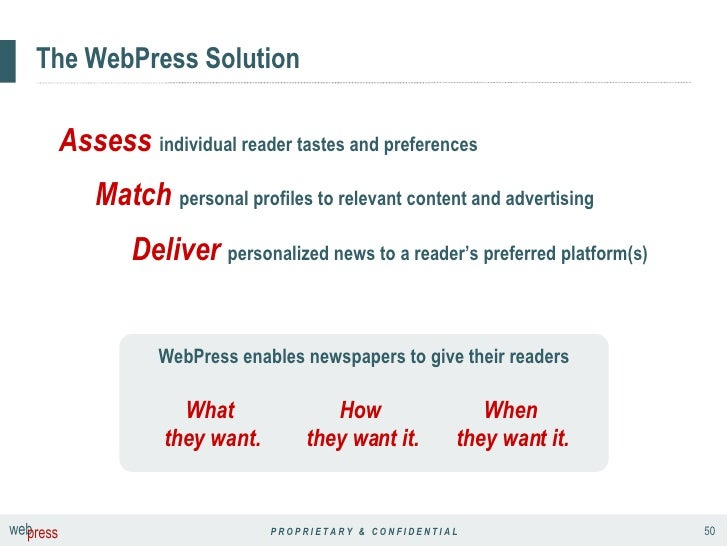 The WebPress Solution WebPress enables newspapers to give their readers Assess   individual reader tastes and preferences ...