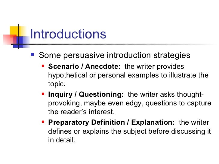 Persuasive essay introduction strategies
