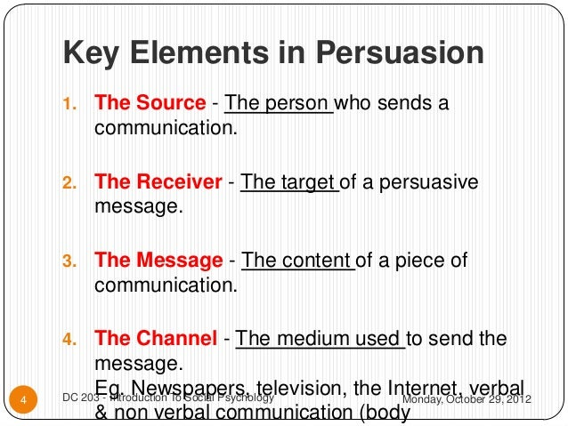 elements of persuasion The necessary art of persuasion jay a conger  to that end, persuasion consists of four essential elements: establishing credibility, framing to find common ground, providing vivid evidence .