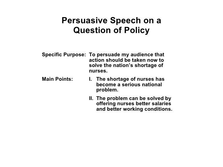 Persuasive speech outline example