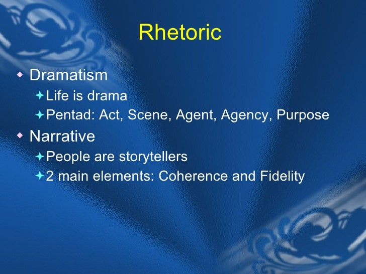 dramatic pentad Dramatic pentad, a tool for analysis which breaks down essential elements of all interaction: act, scene, agent, agency, and purpose each term contributes its own.