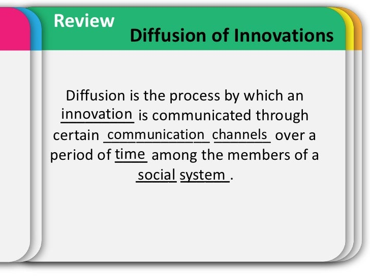 Review           Diffusion of Innovations  Diffusion is the process by which an innovation _________ is communicated throu...