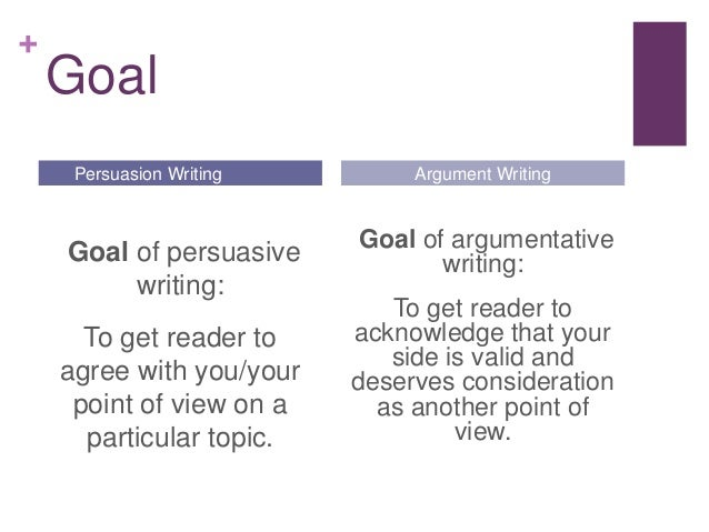 persuasive vs argumentative essay The objective of a persuasive essay is to win the reader over to your side of an argument, while the primary objective of an argumentative essay is just to show.