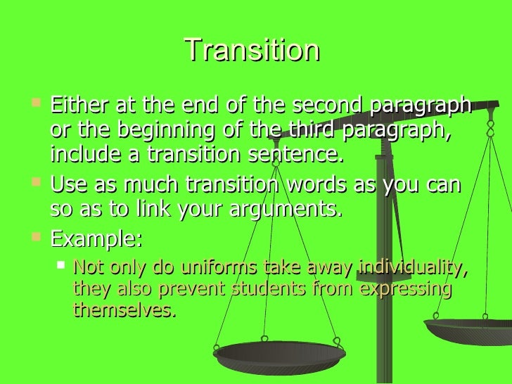 Persuasive essay transitions
