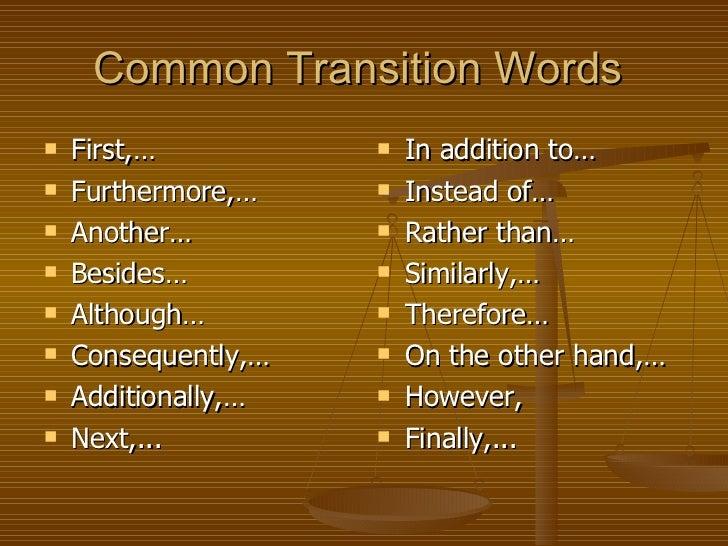 persuasive essay transition words