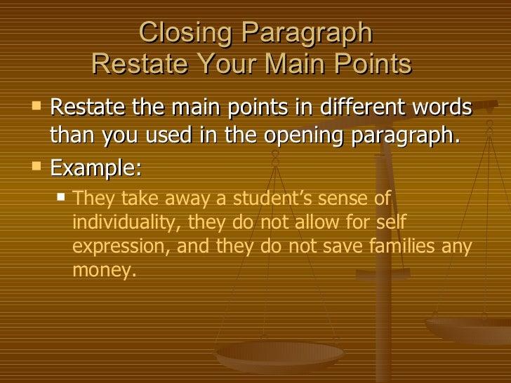 persuasive essay closing sentence