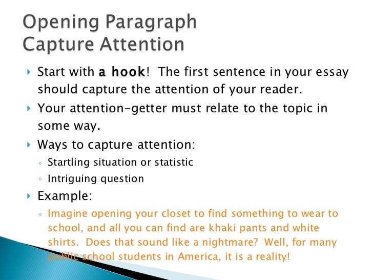opening sentence for essay The first sentence of your introduction is the first chance you have to capture your reader's attention it is important to consider who your reader or audience is.