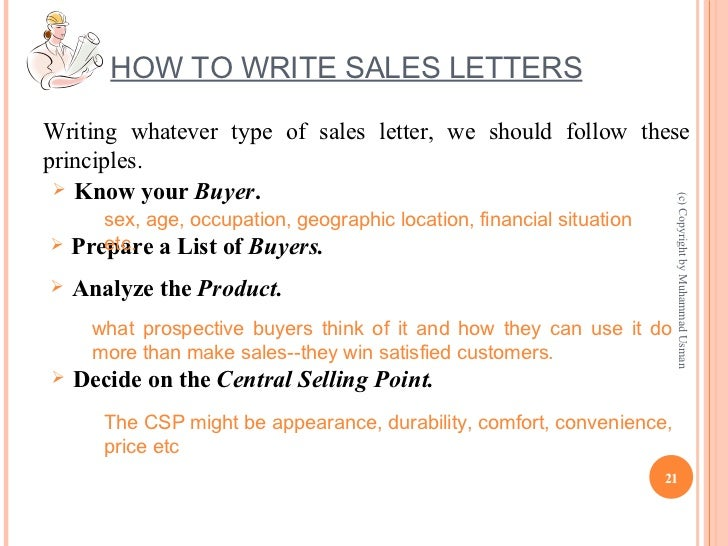 21. HOW TO WRITE SALES LETTERS ...  Persuasive Sales Letter