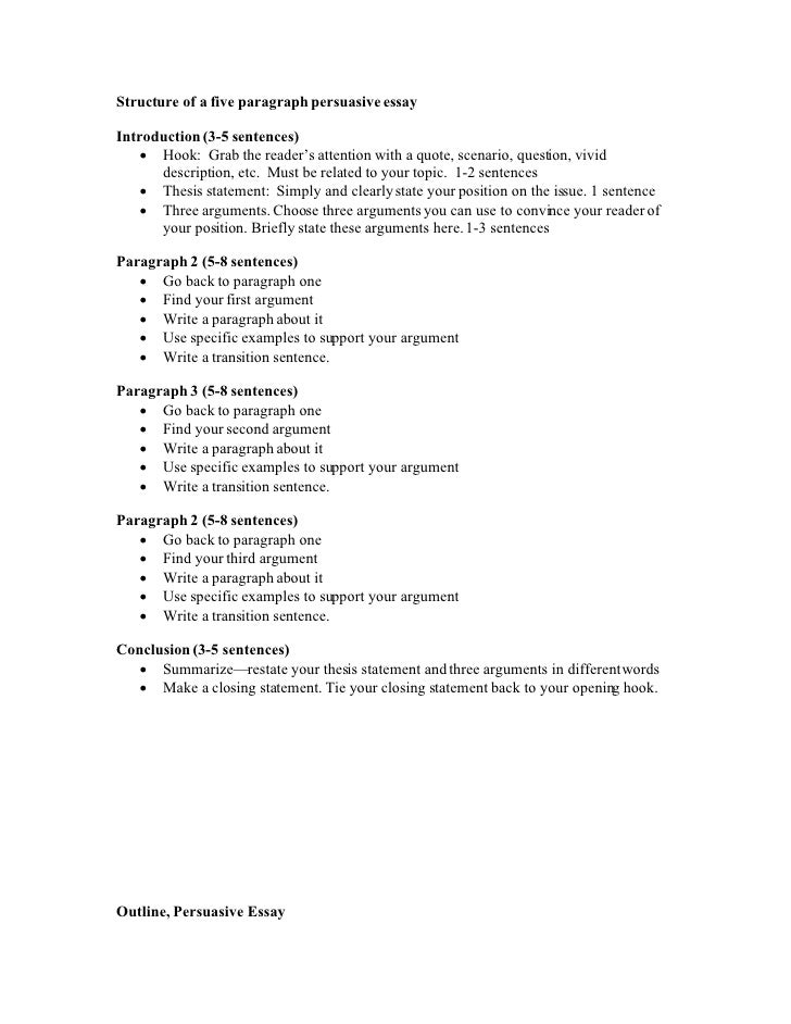 Structure of a five paragraph persuasive essay  Introduction (3-5 sentences)      Hook: Grab the reader's attention with ...