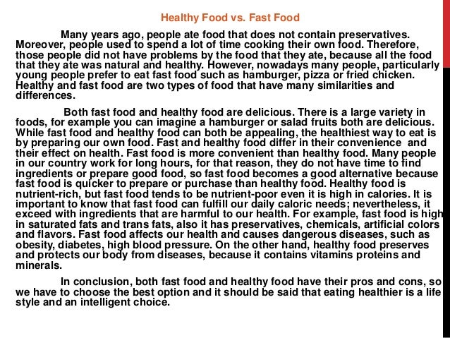 persuasive and compare and contrast essay healthy food vs