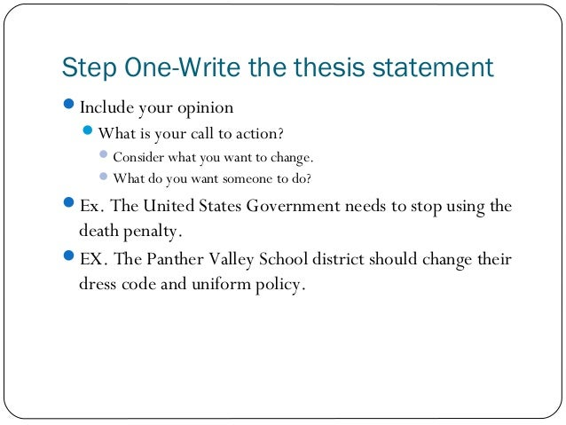 persuasive essay  step onewrite the thesis statement