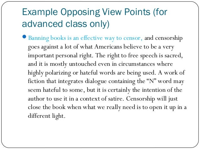 persuasive essay against censorship Write a five paragraph persuasive paper, which argues for or against a censorship issue the web quest introduced you to important censorship concepts in the past: topics such as blacklisting in the 1950's and book burning in the 1930's.