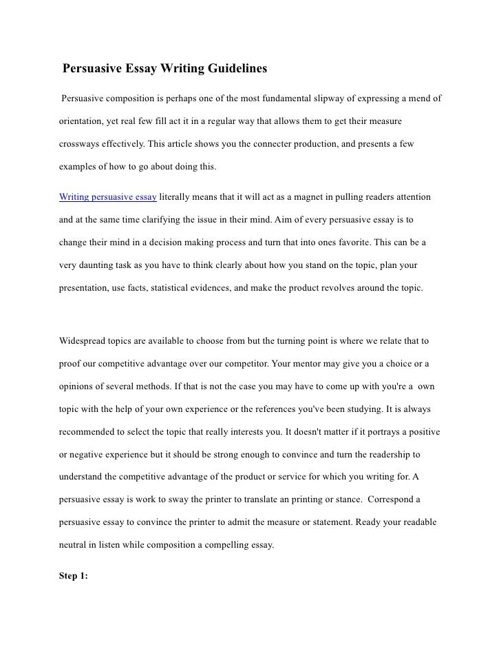 persuasive essay guidelines