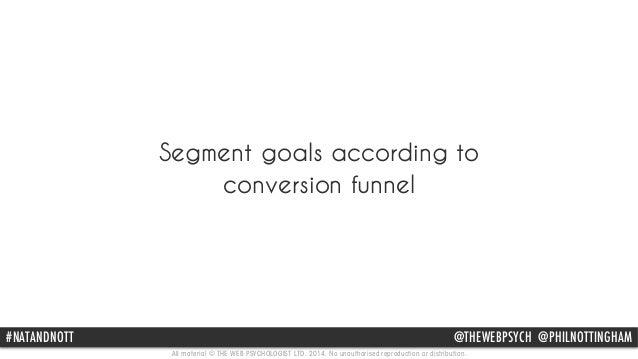 Segment goals according to  conversion funnel  #NATANDNOTT @THEWEBPSYCH @PHILNOTTINGHAM  All material © THE WEB PSYCHOLOGI...
