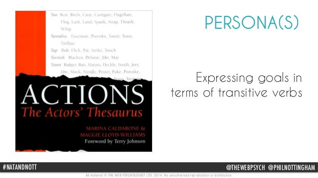 PERSONA(S)  Expressing goals in  terms of transitive verbs  #NAThAttpN://DwwNw.OamTaTzo n.com/Actions-Actors-Thesaurus-Mar...