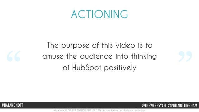 """ACTIONING  The purpose of this video is to  amuse the audience into thinking  """" of HubSpot positively  """"  #NAThAttpN://Dww..."""
