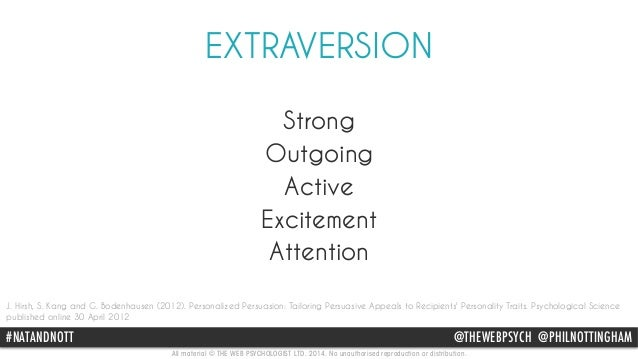 EXTRAVERSION  Strong  Outgoing  Active  Excitement  Attention  J. Hirsh, S. Kang and G. Bodenhausen (2012). Personalized P...
