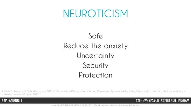 NEUROTICISM  Safe  Reduce the anxiety  Uncertainty  Security  Protection  J. Hirsh, S. Kang and G. Bodenhausen (2012). Per...