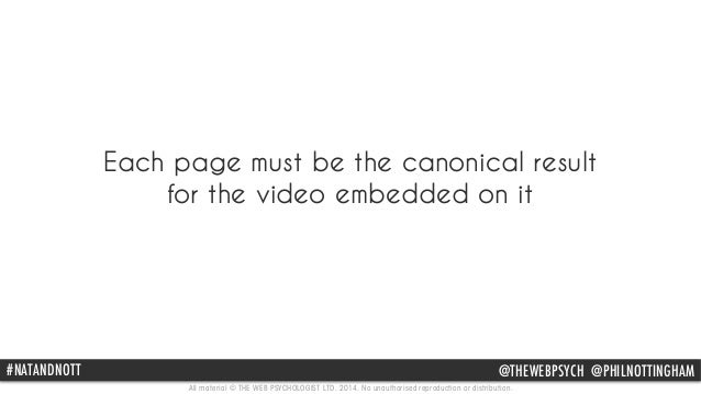 Each page must be the canonical result  for the video embedded on it  #NATPAhNil DNNotOtinTgTh am @THEWEBPSYCH @@PpHhIilLn...