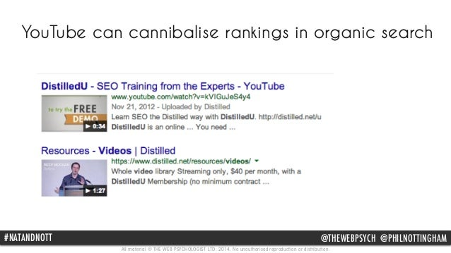 YouTube can cannibalise rankings in organic search  #NATANDNOTT @THEWEBPSYCH @PHILNOTTINGHAM  All material © THE WEB PSYCH...