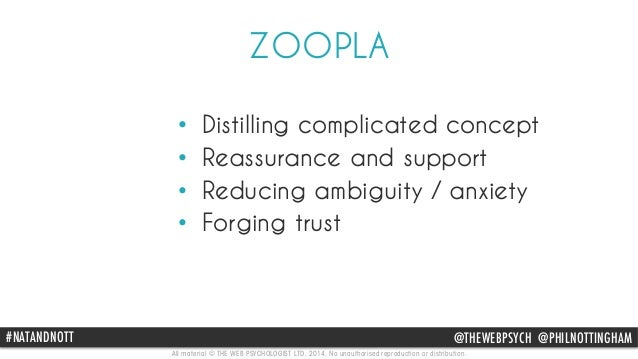 ZOOPLA  • Distilling complicated concept  • Reassurance and support  • Reducing ambiguity / anxiety  • Forging trust  #NAT...