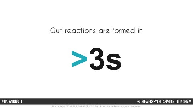 Gut reactions are formed in  >3s  #NATANDNOTT @THEWEBPSYCH @PHILNOTTINGHAM  All material © THE WEB PSYCHOLOGIST LTD. 2014....