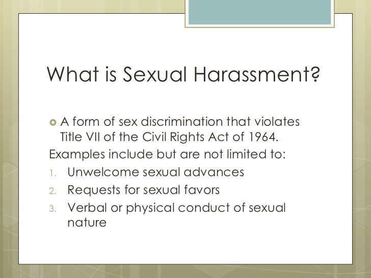 Sexual harassment examples presentation speech