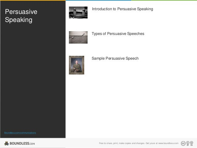 Persuasive Speaking  Introduction to Persuasive Speaking  Types of Persuasive Speeches  Sample Persuasive Speech  Boundles...