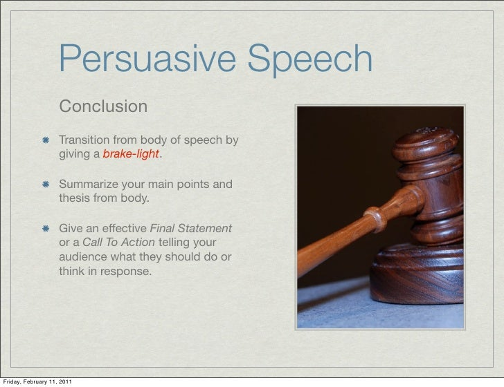 a report on persuasive speeches Great collection of paper writing guides and check out our persuasive essay samples to get acquainted with this of speech, consciousness, self-expression.