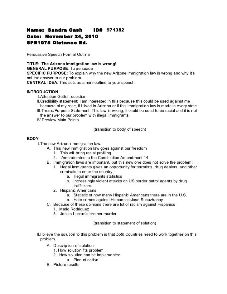 persuasive speech formal outline sandra cash id 971382date 24 2010spe1075 distance ed persuasive