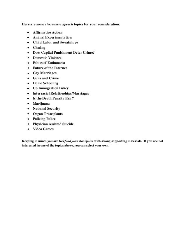 persuasive speech outline  4 here are some persuasive speech topics for your consideration affirmative action
