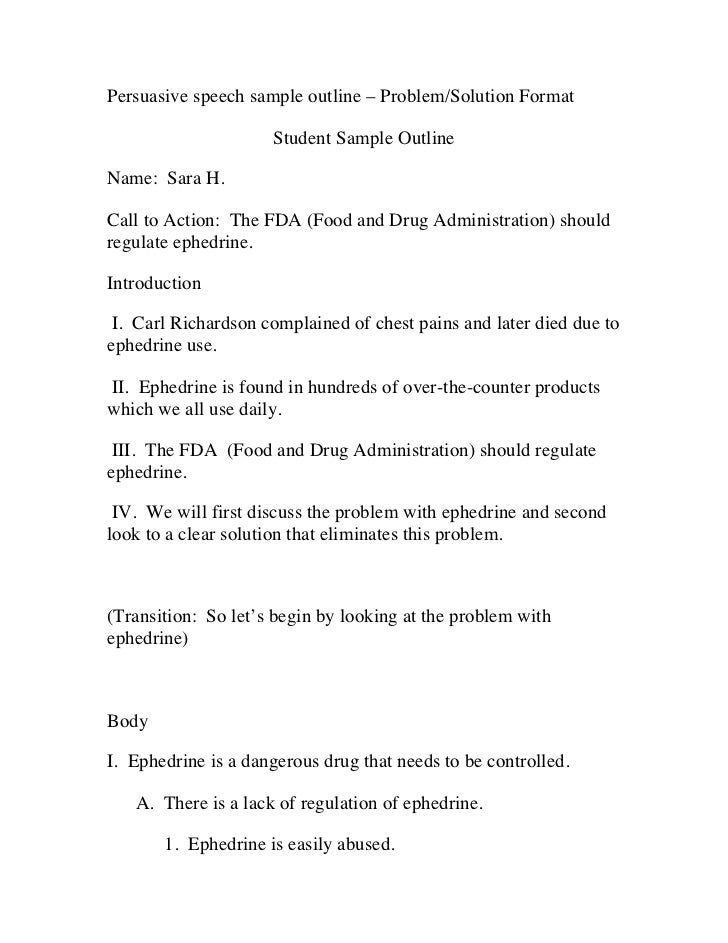 persuasive speech sample outline problem - Example Of Speech Essay
