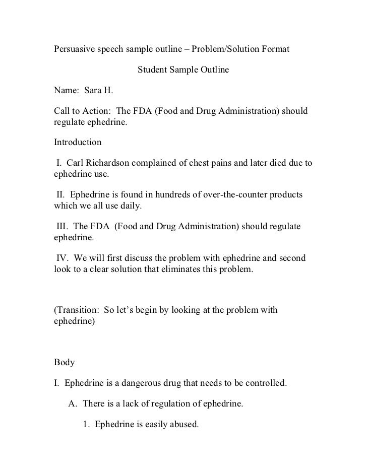 Persuasive Speech Sample Outline  Problem